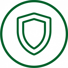 Green shield representing preventive work